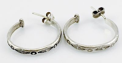 Vintage Sterling Silver Ornate Open Hoop Earrings 925 Ethnic Markings Tribal