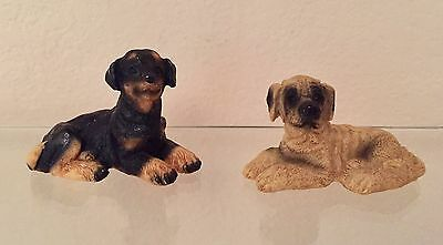 Stone Critters Mastiff And Doberman Puppy Figurines