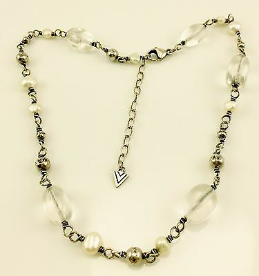 Vintage Sterling Silver White Pearl & Clear Quartz Beaded Necklace 925 Good Deal