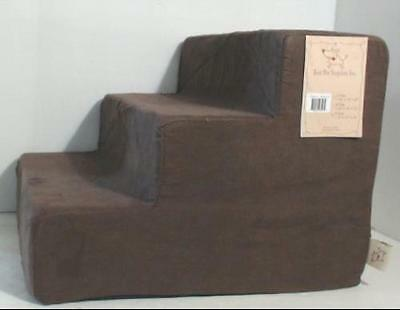 NEW Best Pet Supplies ST200T-S 3-Step Foam Pet Stairs Brown Suede $129