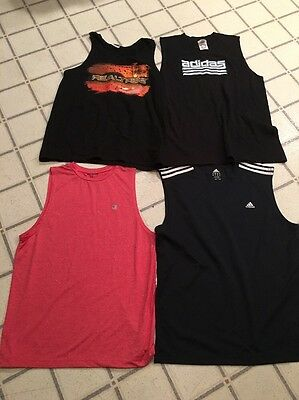 Lot/4 Mens Tank Tops Size Large - Adidas, Champion,  Real Tree - Good Condition