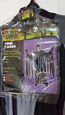 New Totally Ghoul Ghost Soul Taker Gray Black Halloween Costume Sz M