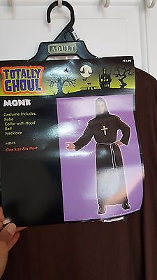New Totally Ghoul Monk Priest Brown Robe Halloween Costume One Size Fit Most