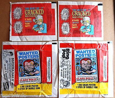 Topps / Fleer 4 wrapper lot Cracked 1978, Wanted Posters 1980