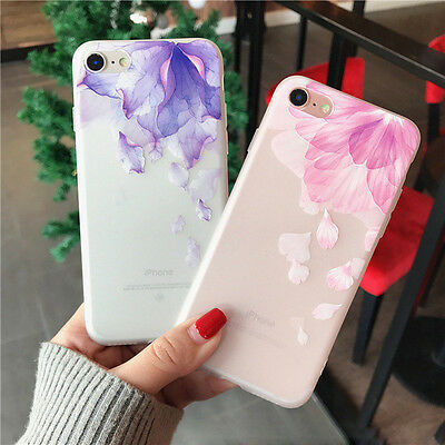 For iPhone 8 6s 7 Plus Soft Rubber Shockproof Case Flower Transparent Slim Cover