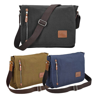 "14"" Men's Vintage Canvas Schoolbag School Satchel Shoulder Messenger Laptop Bag"