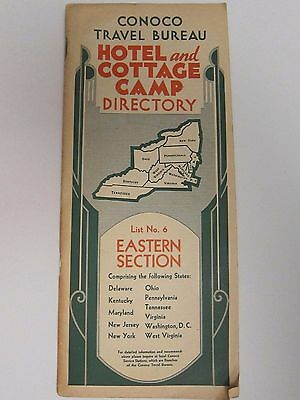 1935 Conoco Travel Bureau Hotel & Cottage Camp Directory #6 Eastern Section