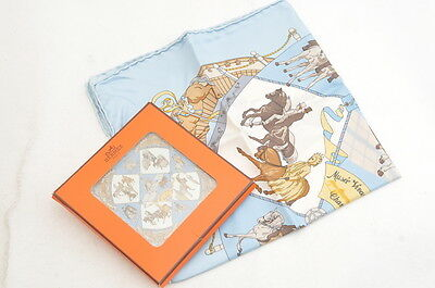"Authentic HERMES Handkerchief ""Musee Vivant du Cheval "" Silk Light Blue R120"