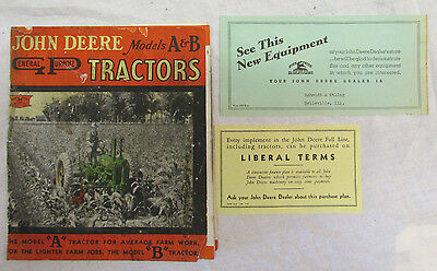 1930s John Deere Catalog Brochure Sales General A & B Tractors Original Rare Old