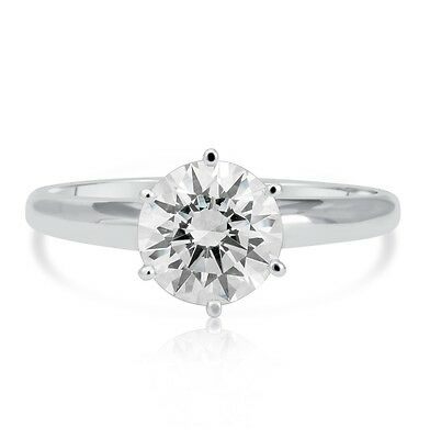 1.22 Ct Round Cut Vs1 Diamond Solitaire Engagement Ring 14K White Gold