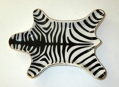 Zebra Skin Ring Holder Black White Ceramic New Jewelry Tray