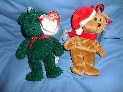 Lot of two  Ty 1997 & Ty 2001  Holiday Teddy Jingle Beanie Babies Baby MWMT