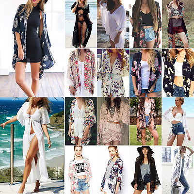 Womens Summer Boho Shawl Kimono Cardigan Kaftan Coat Beach Cover Up Blouse Tops