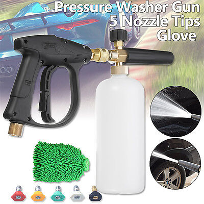 High Pressure Washer Gun Water Jet Foam Lance Cannon Glove 5 Nozzle Tips