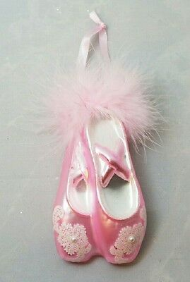 "BALLET Pink Shoe Slipper CHRISTMAS Holiday Glass 5""  Ornament Dance Gift"