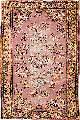 "Hand-knotted Turkish Carpet 6'1"" x 9'4"" Melis Vintage Traditional Wool Rug"