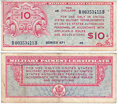 1947-48 Europe Occupation $10 Series 471 Military Payment Certificate Very Fine