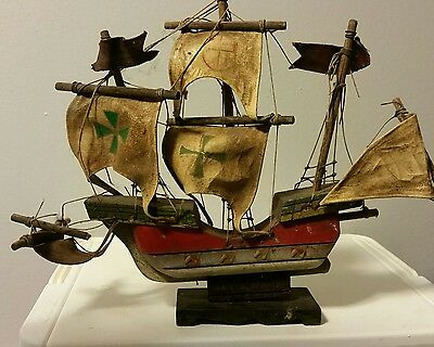 Antique Wooden Santa Maria Nautical Ship Model - Lb-C0589