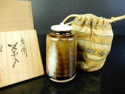 H1573: Japanese Seto-ware Brown glaze TEA CADDY Shifuku,auto w/signed box