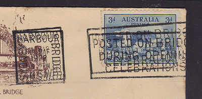 3d Blue Sydney Harbour Bridge commemorative slogan postmark error double FDC