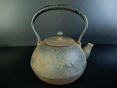 H1554: Japanese Old Iron Horse sculpture TEA KETTLE Teapot Tetsubin