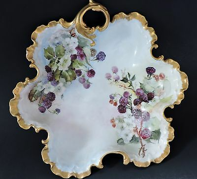Antique German porcelain hand painted Bowl ( blackberries) Rosenthal Monbijou