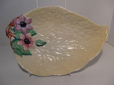 Carlton Ware Yellow Clematis Leaf Shape Bowl 23.5cm Shape #1953