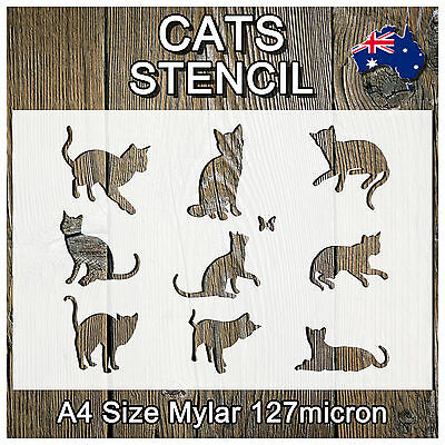 Stencils Crafts Templates Scrapbooking Cats Kittens Stencil - A4 Mylar