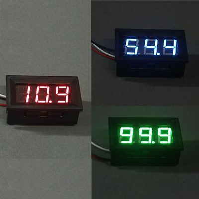 Mini Red Blue Green LED DC 100V Voltmeter Gauge Voltage Volt Panel Meter Display