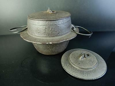 H1622: Japanese Iron Shapely TEAKETTLE Teapot Chagama Tea Ceremony