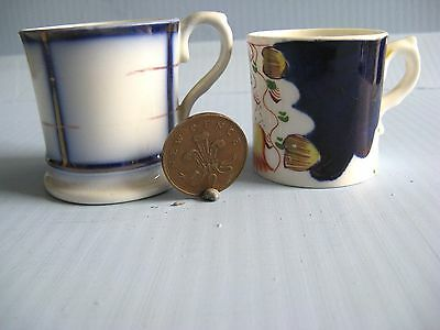 Gaudy Welsh Victorian pottery miniature mugs x 2