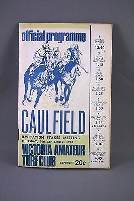 1970 Caulfield Invitation Stakes Meeting Race Book - Horse Racing Programme