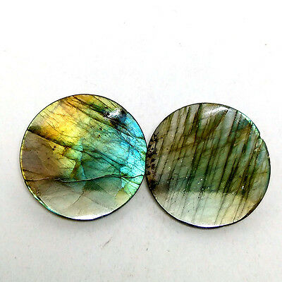 New 1 Pair Set Natural Fire Labradorite 30x30mm Round Cab Gemstone Jewelry 4210