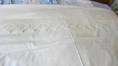 Vintage Muslin Queen Flat Sheet With Hand Crocheted Edge, Ivory