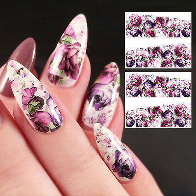2 Sheets Gorgeous Flower Water Decals Nail Art Manicure Transfer Stickers Decor