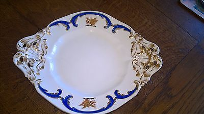 Vintage Cobalt Blue & Gold Hand Painted Porcelain Plate with Dragon Heads