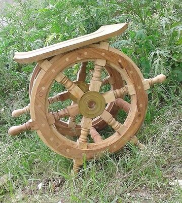 Ship Wheel Side Table 18 inch -Nautical Table Boat Steering Shipswheel Table