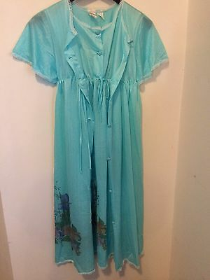 Vintage nightie gown set sleepwear Wolso blue nylon 8 10 sleep womens retro robe