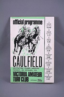 1972 Caulfield Invitation Stakes Meeting Race Book - Horse Racing Programme