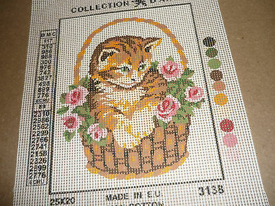 """Collection Dárt - """"cat In A Basket"""" - Tapestry Canvas - New"""