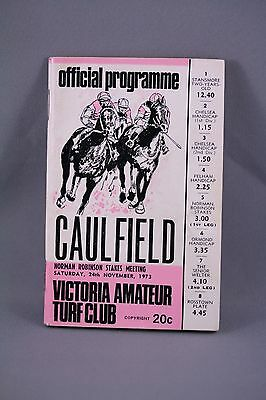 1973 Caulfield Norman Robinson Stakes Meeting Race Book - Horse Racing Programme