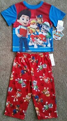 Nickelodeon Paw Patrol Kids Pjs Pajamas Pyjamas Red & Blue Sizes 2T & 3T
