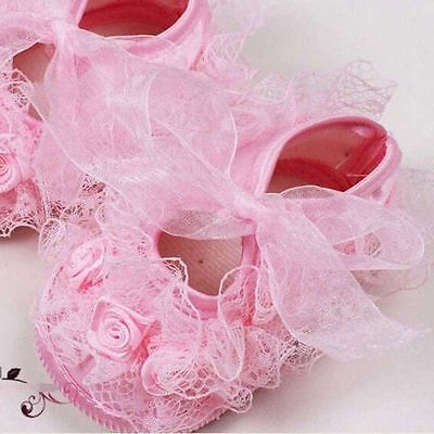 0-4 Months Practical Baby Girls Crib Shoes Lace Flower Walk Princess Shoes Pink