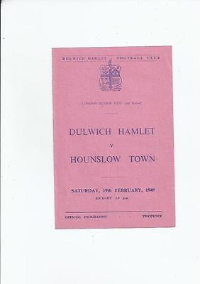 Dulwich Hamlet v Hounslow Town London Senior Cup Football Programme 1948/49