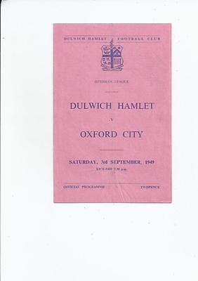 Dulwich Hamlet v Oxford City Isthmian League Football Programme 1949/50