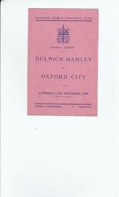 Dulwich Hamlet v Oxford City Football Programme 1947/48