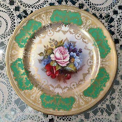 Aynsley Ja Bailey Signed Large Plate Handpainted Roses Poppies