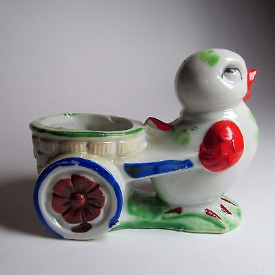 Cute Vintage 1950s Ceramic Chicken and Cart Handpainted Egg Cup Made in Japan