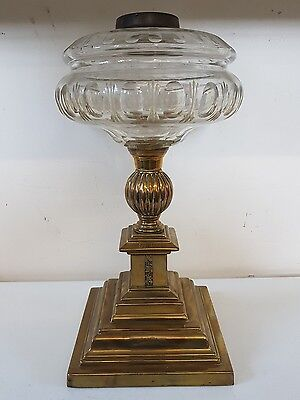 Edwardian Brass and Cut Glass Lamp Base
