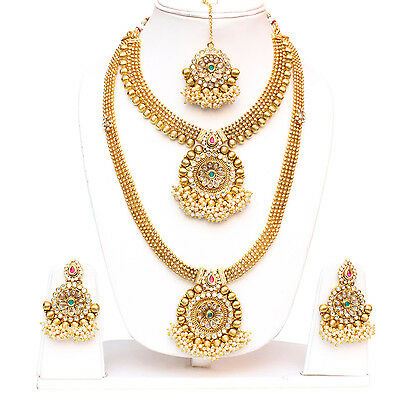 Bollywood Gold Plated Ruby Green Necklace Earring Tikka Wedding Indian Jewellery